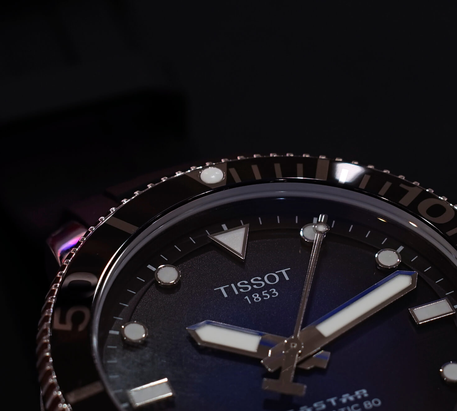 Tissot seastar 1000 powermatic 80, керамический безель
